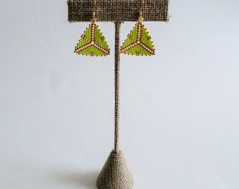 Lime Green and Gold Tribal Geometric Earrings