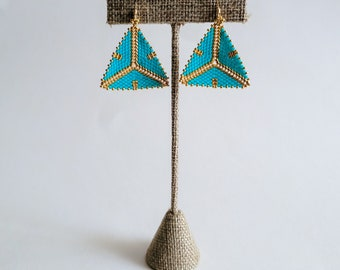 Turquoise and Gold Tribal Geometric Earrings