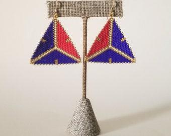 Blue, Red & Gold Geometric Beaded Earrings