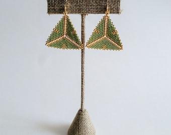 Mustard Green and Gold Tribal Geometric Earrings
