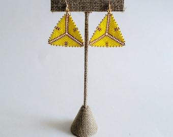 Neon Yellow and Gold Tribal Geometric Earrings