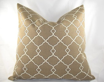 Decorative Pillow Cushion Cover - Accent Pillow - Throw Pillow - Chippendale Fretwork Mocha - Indoor Outdoor