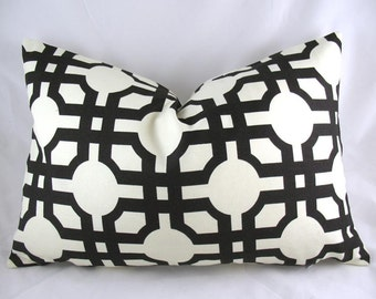 Waverly - Groovy Grill Licorice, Fretwork, Black - Decorative Pillow Cushion Covers - Accent Pillow - Throw Pillow