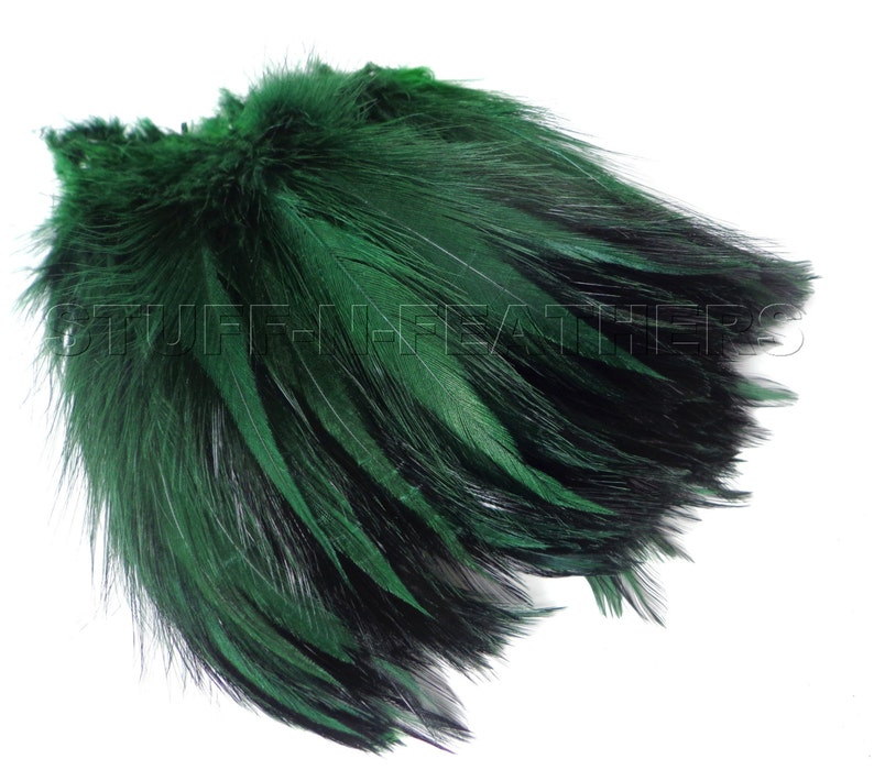Rooster feathers Dark Green / Moss Green furnace hackle real image 0