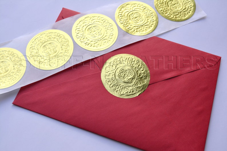 Gold foil sticker Embossed seals LARGE round 2 in Foiled image 0