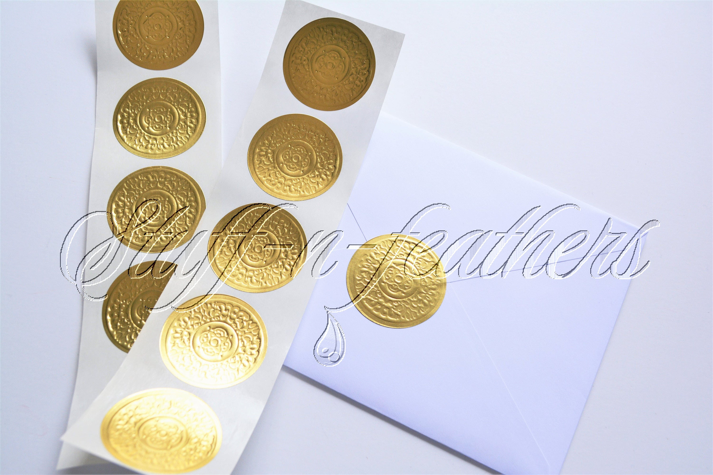 Gold foil sticker seals small round embossed stickers 1 5 in envelope seal invitation seal wedding gift gold seals gold stickers d15sg