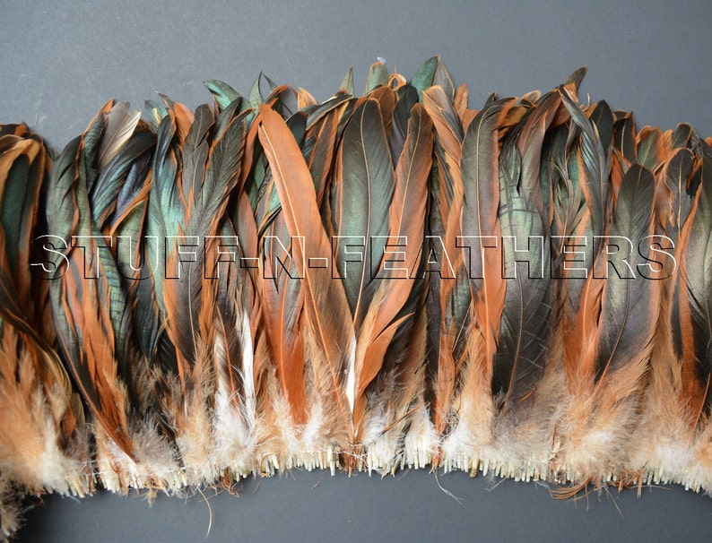 Wholesale / bulk feathers  natural rooster iridescent brown image 0