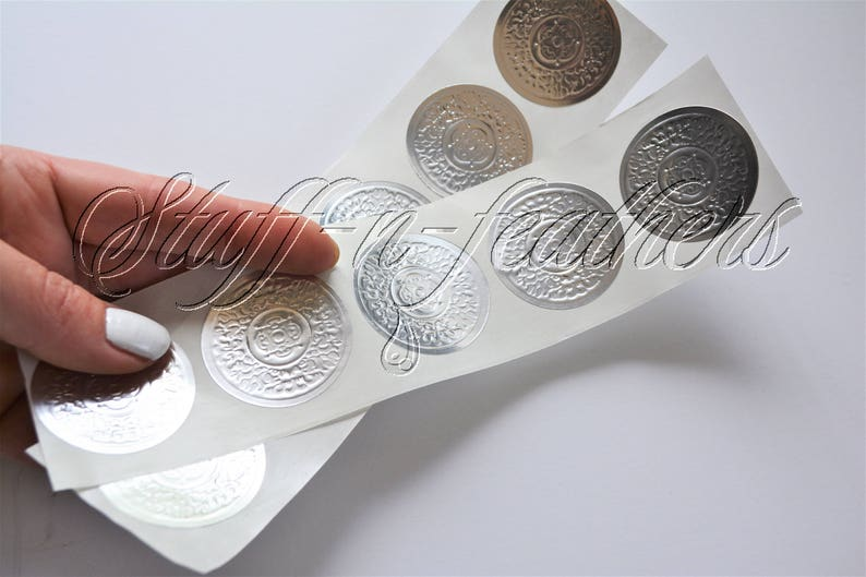 SILVER foil sticker seals SMALL round embossed stickers 1.5 in image 0