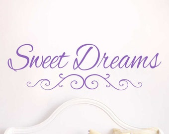 Sweet Dreams Typographic Inspirational Vinyl Wall Decal Quote Sticker Q-115