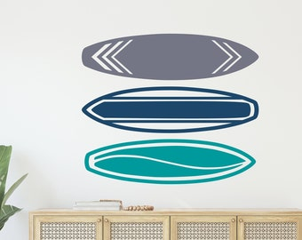 3 Surfboards Decal Set, 60 Boards to Choose From, Surfing Sticker, Beach Decor, Surfer Wall Art, Kid's Surf Room - B-126