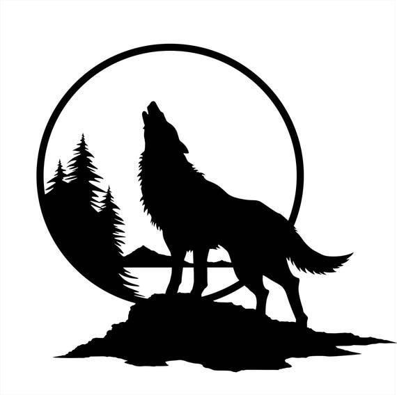 Sticker Mural De Loup Loup Hurlant A La Lune Art Decoration Etsy