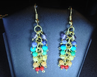 Chakra Gemstone Dangle Earrings with Gold-Plated French Hooks