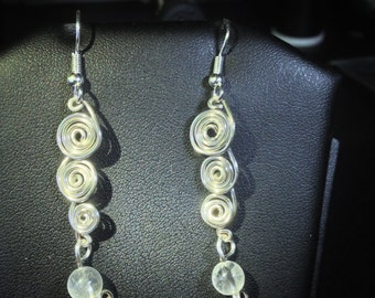 Silver-Plated Spiral Earrings with Quartz Crystal Bead