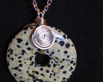 Dalmatian Jasper Reversible Donut Pendant with Silver Plated Spirals and Chain