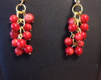 Red Coral Bead Dangle Earrings with Gold-Plated French Hooks