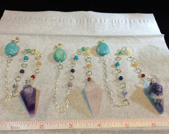 Gemstone Pendulums With Chakra Stones and Silver-Plated Chain and Accents