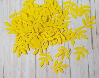 50 Yellow Fern Leaf punch die cut confetti scrapbook embellishments, Mix and Match