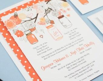 Sample bilingual vietnamese wedding invitation set love etsy sample bilingual vietnamese wedding invitation set mason jar orange flat card invitation sample card stock filmwisefo