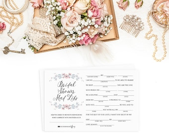 9d5c37a2d65f Instant Download Printable Bridal Shower Mad Libs - Original Help the Bride-to-be  Write Her Vows! Pink Gray Flowers Game Lily EC02