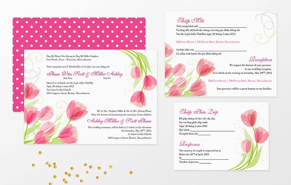 Bilingual Wedding Invitations: Printable Bilingual Vietnamese Wedding Invitation Set