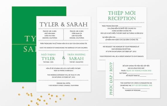 Printable bilingual vietnamese wedding invitation set filmwisefo