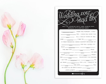Instant Download - Original Wedding Vow Mad Libs - Printable - Wedding Shower - Help the lovebirds write their vows - Vows Daffodil WV03