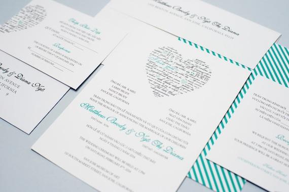 Sample bilingual vietnamese wedding invitation set love etsy image 0 filmwisefo