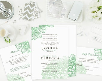 Wedding Invitation Set - Vietnamese Invitation, Reception and RSVP - Do-It-Yourself - Printable - Rebecca Vintage Green Flowers