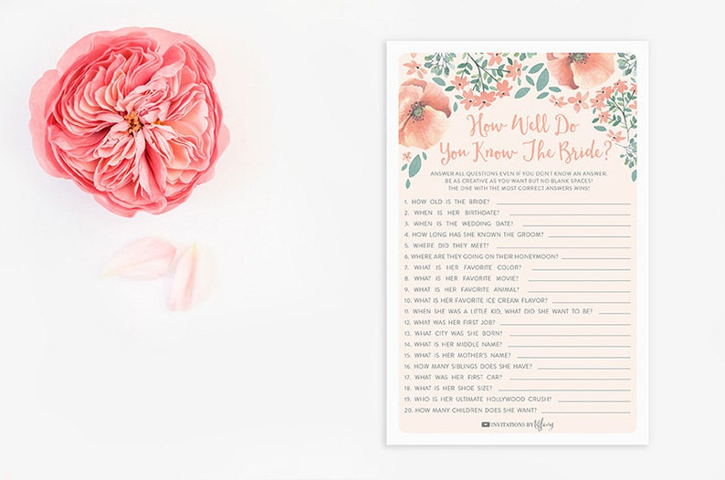 picture regarding Printable Bridal Shower Card identify Prompt Obtain Printable Bridal Shower Card - How Very well Do Your self Recognize the Bride - Peach Eco-friendly Floral Bouquets - Bridal Shower Recreation - Iris EB05