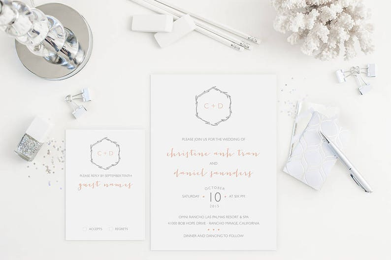 Sample Wedding Invitation Set Monogram Minimalist Wedding Etsy