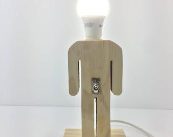 wood lamp,table lamp,wooden lamp,wood man's shaped lamp,cool lamp,desk lamp,funny lamp,handmade lamp,handcraft lamp,creative lamp,ideal gift