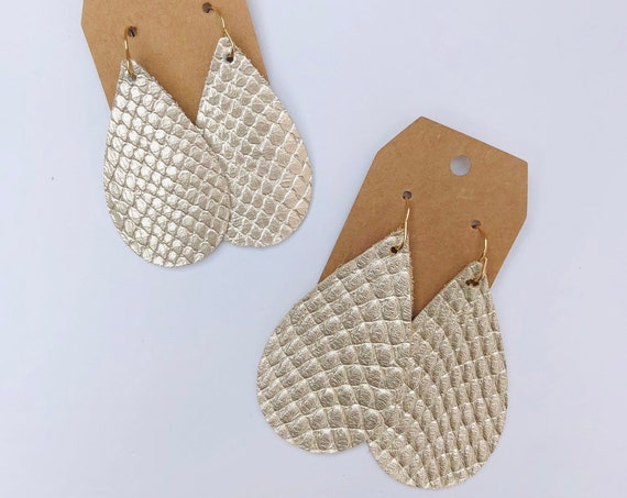 Light Gold Metallic Snake Skin Texture Leather Teardrop Earrings - Choose Size