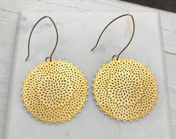Round Gold Flower Shaped Earrings on Long Hook