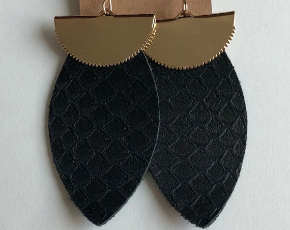 Leaf Shaped Black Snakeskin Print Leather Earrings