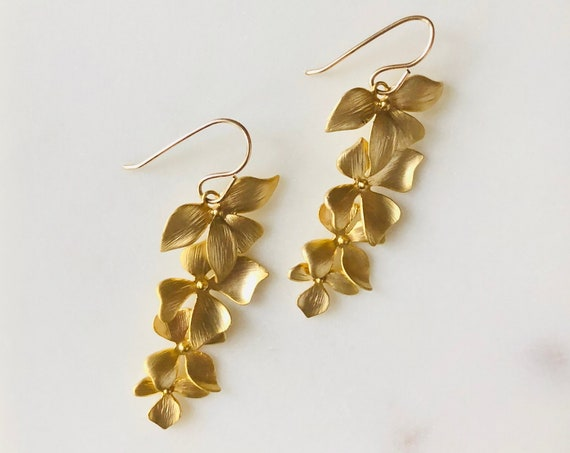 Gold Tiered Flower Earrings on Gold Filled Hook