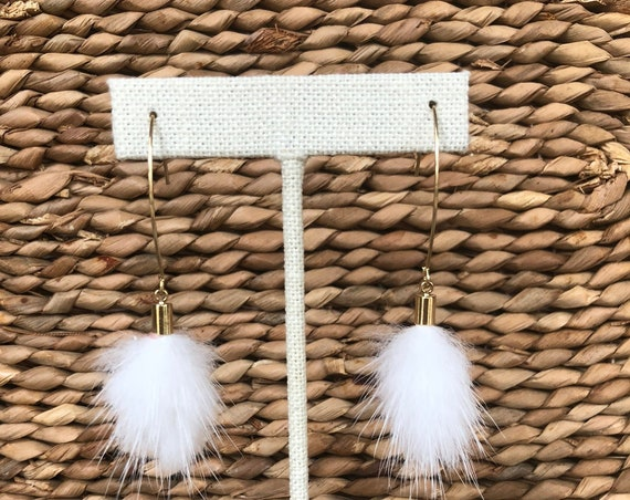 White Mink Fur Pendant on Long Gold Plated Hook