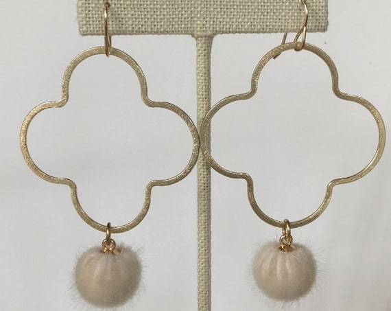 Large Gold Quatrefoil Earrings with Round Off White Pendant on Gold Filled Hook