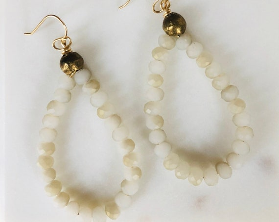 White Faceted Bead Teardrop Earrings on Gold Filled Hook