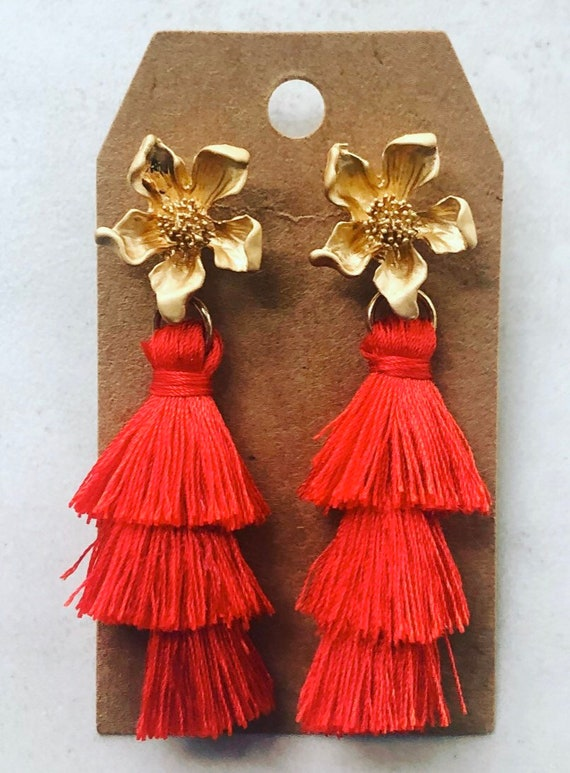 Red Tiered Tassel Earrings on Gold Flower Post