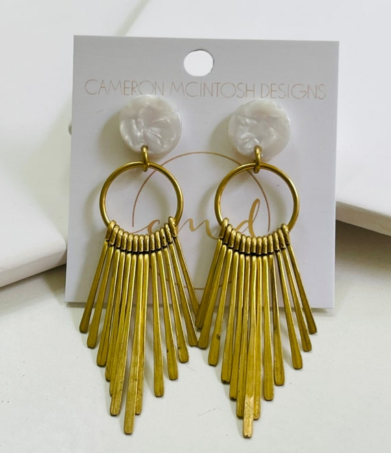 Brass And White Acetate Earrings