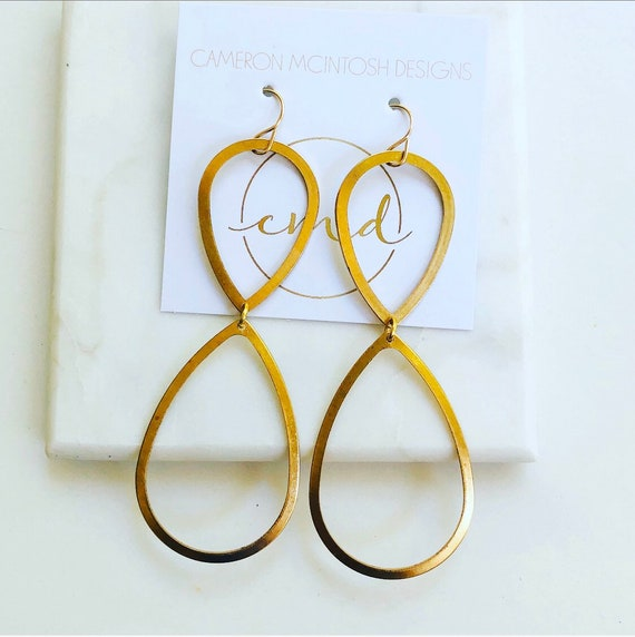 Large Brass Inverted Teardrop Earrings on Gold-Filled Hooks