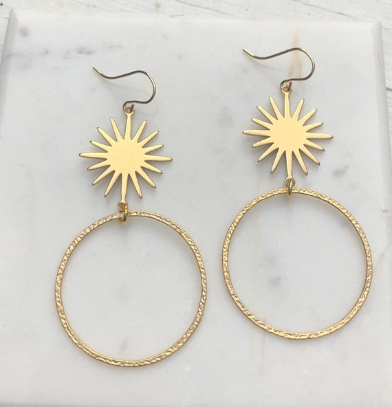 Gold Starburst and Circle Earring on Gold Filled Hooks