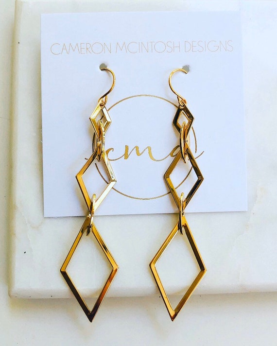 Triple Diamond Shaped Gold Earrings - CLEARANCE