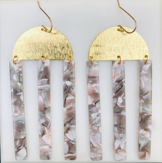 Triple Gray and White Acetate Bar Statement Earrings on Gold Filled Hooks