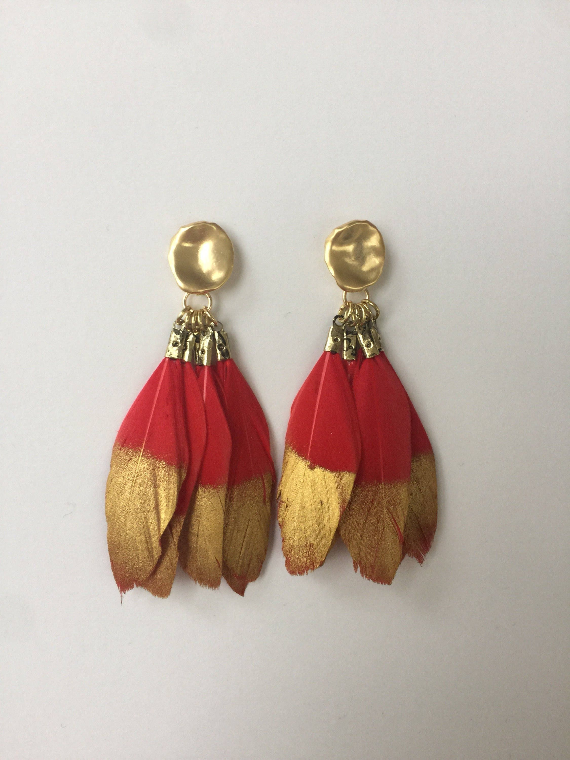 s tradesy red chanel drop i earrings vintage gripoix gold