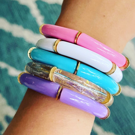 Little Girls' Acrylic Tube Bead Bracelets