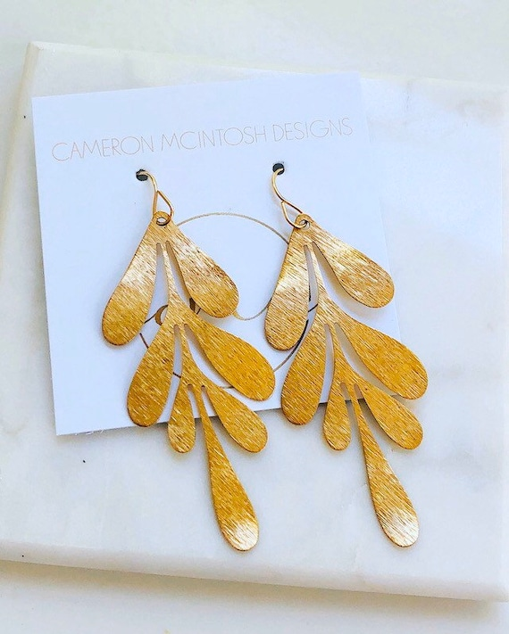 Brushed Gold Leaf Earrings