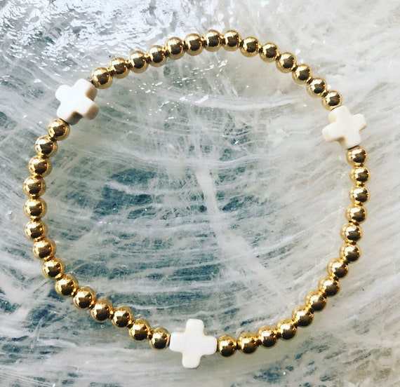 Gold Filled Bead and White Cross Bracelet
