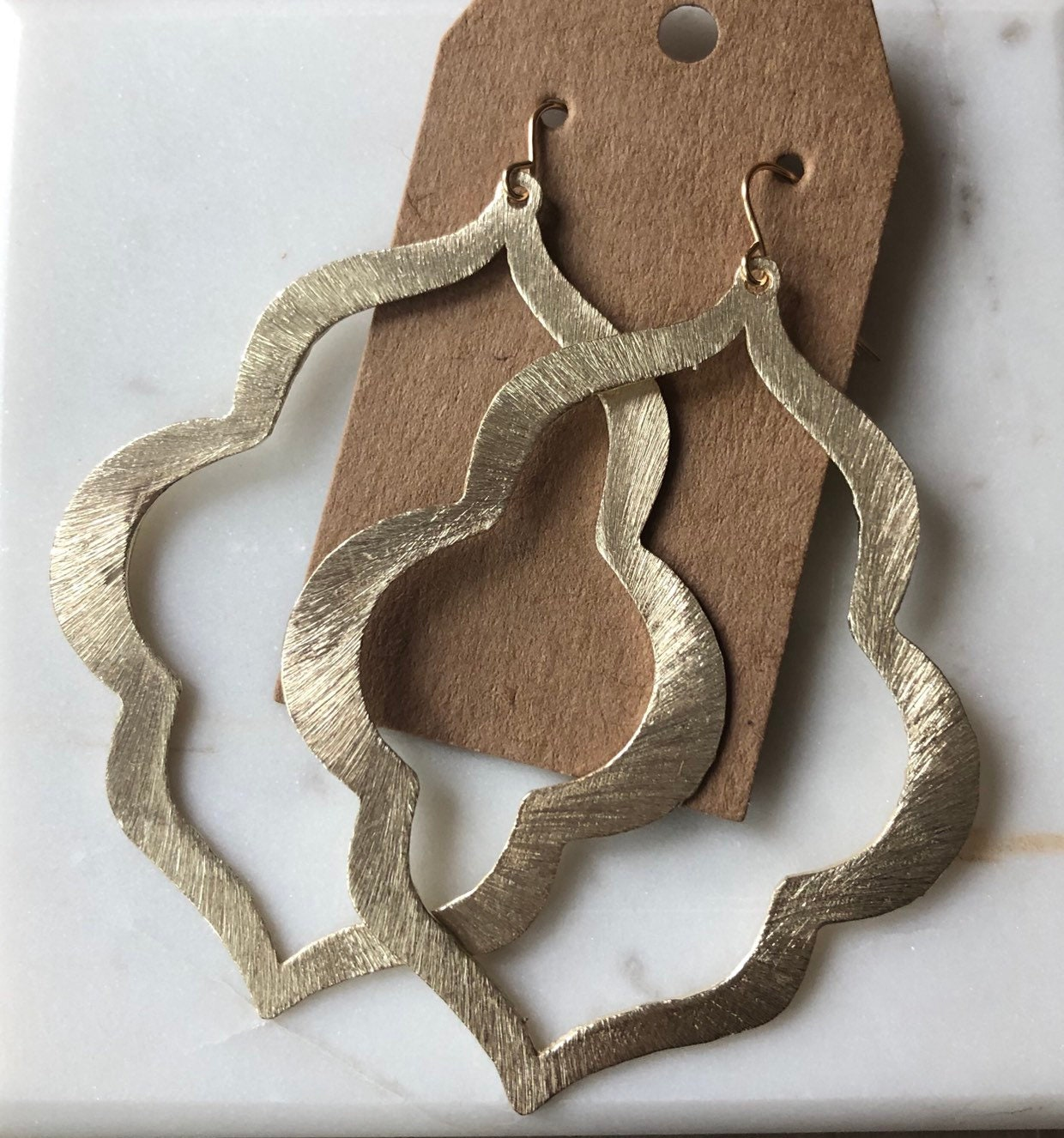 8d42c460c22 Large, Gold Keyhole Shape Earrings on Gold Filled Hook