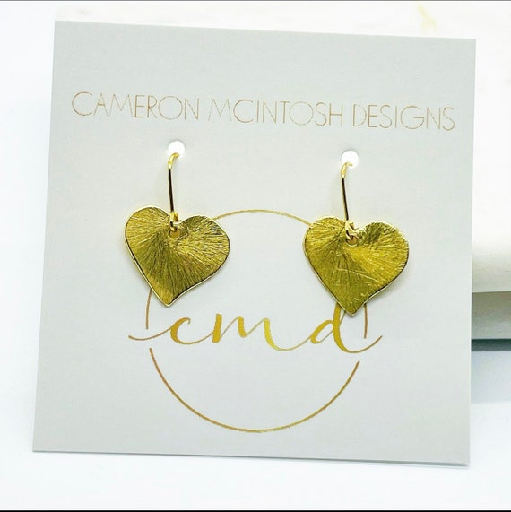 Little Girl Brushed Gold Heart Earrings on Gold-Filled Hook